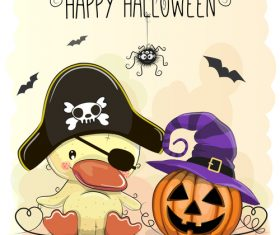 Cartoon animal with halloween card vector 05