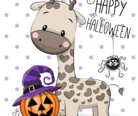 Cartoon animal with halloween card vector 06
