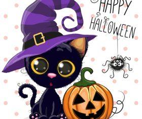 Cartoon animal with halloween card vector 08
