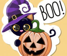 Cartoon animal with halloween card vector 09
