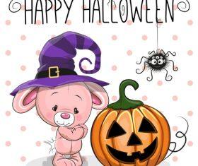 Cartoon animal with halloween card vector 10