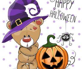 Cartoon animal with halloween card vector 11
