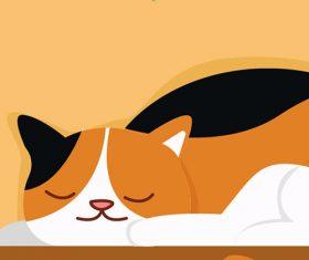 Cartoon cat sleeping on the desk vector