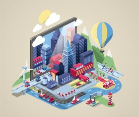 Cartoon city vector illustration design material