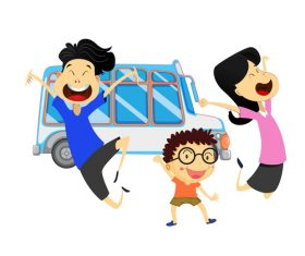 Cartoon family going to travel vector material