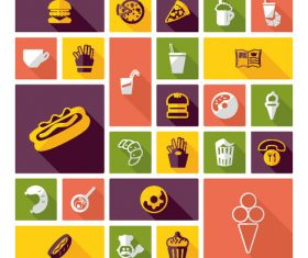 Cartoon fast food cuisine vector icon material