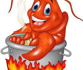 Cartoon funny lobster illustration vector 03