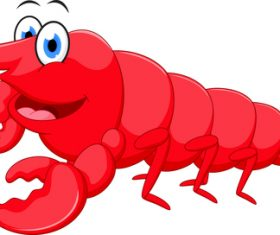 Cartoon funny lobster illustration vector 04