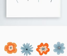 Cartoon hand-drawn flower plant decorative material vector