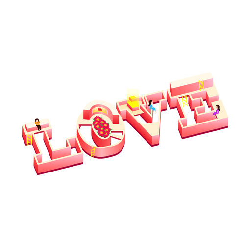 Cartoon love art word vector illustration