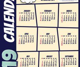 Cartoon styles 2019 calendar template vectors 01