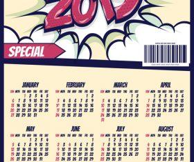 Cartoon styles 2019 calendar template vectors 02