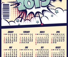 Cartoon styles 2019 calendar template vectors 03