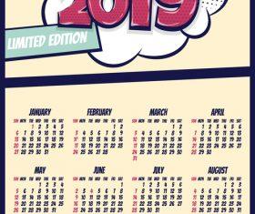 Cartoon styles 2019 calendar template vectors 04