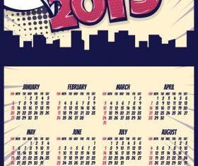 Cartoon styles 2019 calendar template vectors 05