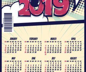 Cartoon styles 2019 calendar template vectors 06