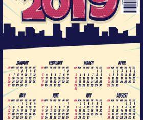 Cartoon styles 2019 calendar template vectors 07