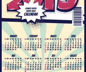 Cartoon styles 2019 calendar template vectors 08