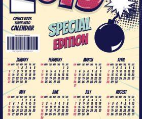 Cartoon styles 2019 calendar template vectors 09