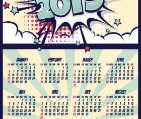 Cartoon styles 2019 calendar template vectors 10