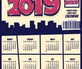 Cartoon styles 2019 calendar template vectors 11