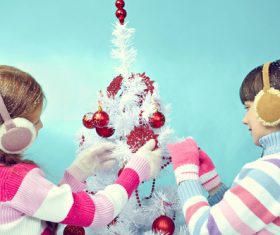 Children dress up Christmas tree Stock Photo 09
