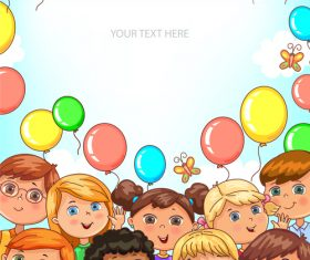 Children portraits and balloons banner with place for your text vector