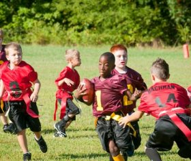 Children rugby match Stock Photo