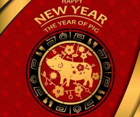 Chinese styles 2019 new year backgrounds vectors