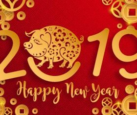 Chinese styles 2019 new year red background vector 02