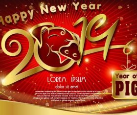 Chinese styles 2019 new year red background vector 03