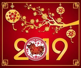 Chinese styles 2019 new year red background vector 04