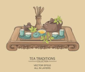 Chinese tea ceremony vector background 01