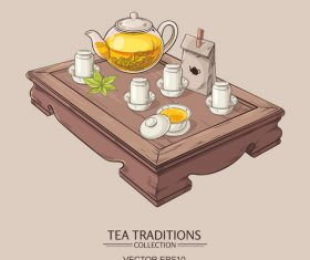 Chinese tea ceremony vector background 02