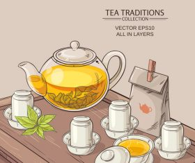 Chinese tea ceremony vector background 03
