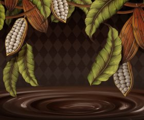 Chocolate with beans background vectors