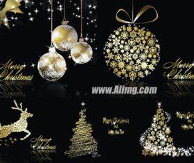Christmas fantasy golden element vector material