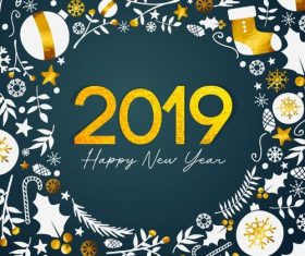 Christmas frame with 2019 new year background vector