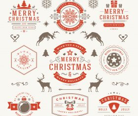 Christmas label elements vector