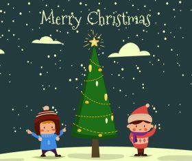 Christmas tree and two boys vector