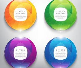 Circle glass banners colored vector