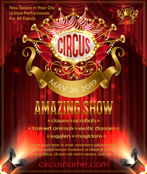 Circus Poster Red Template Vector 02