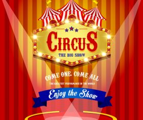 Circus poster with blue ribbon banners vector 01