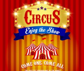 Circus poster with blue ribbon banners vector 02