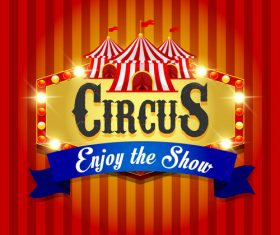 Circus poster with blue ribbon banners vector 03