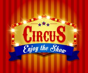 Circus poster with blue ribbon banners vector 04