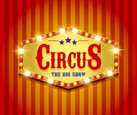 Circus poster with blue ribbon banners vector 05