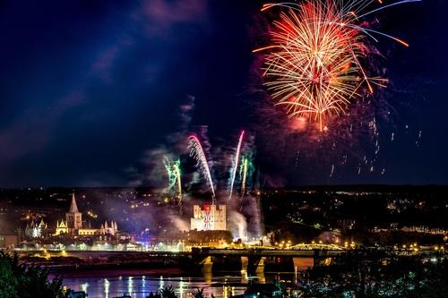 City night splendid fireworks Stock Photo