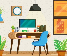 Clean and environmentally friendly office scene vector