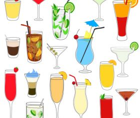 Coctailset with cup glass vector material 01
